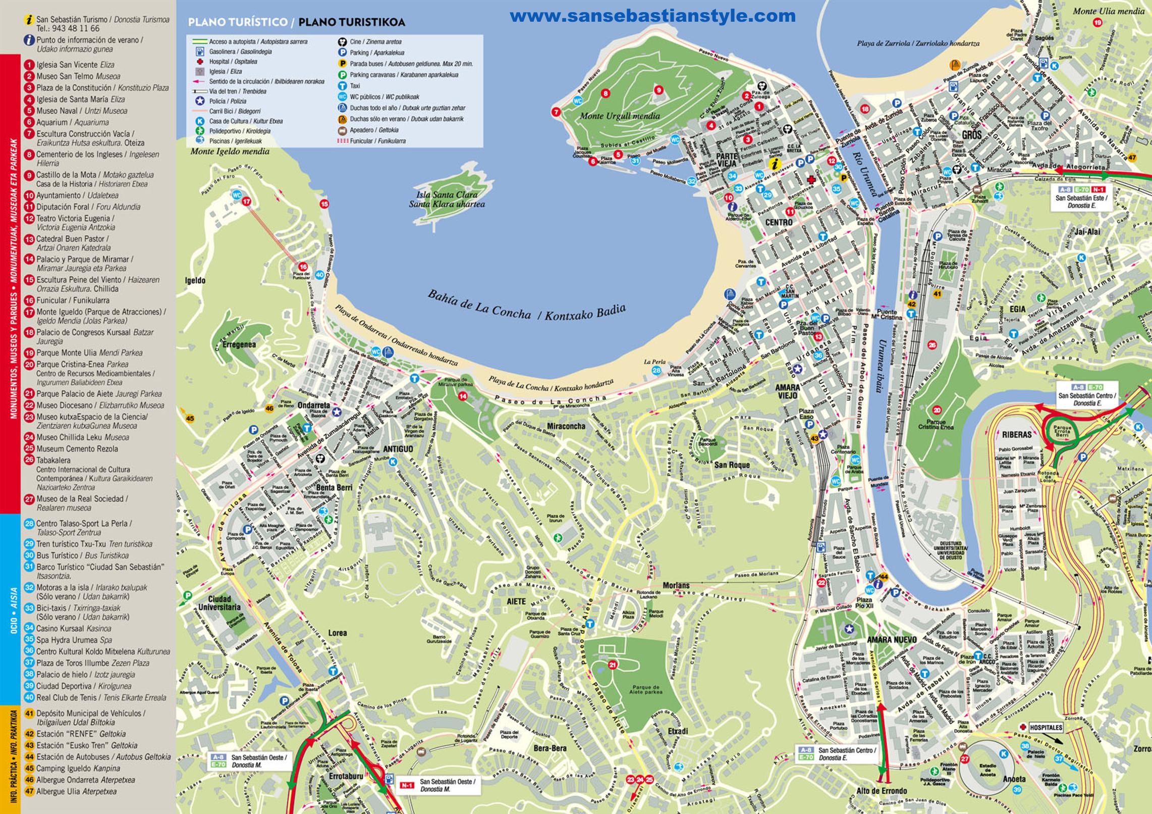 Mapa de San Sebastin  Plano turstico