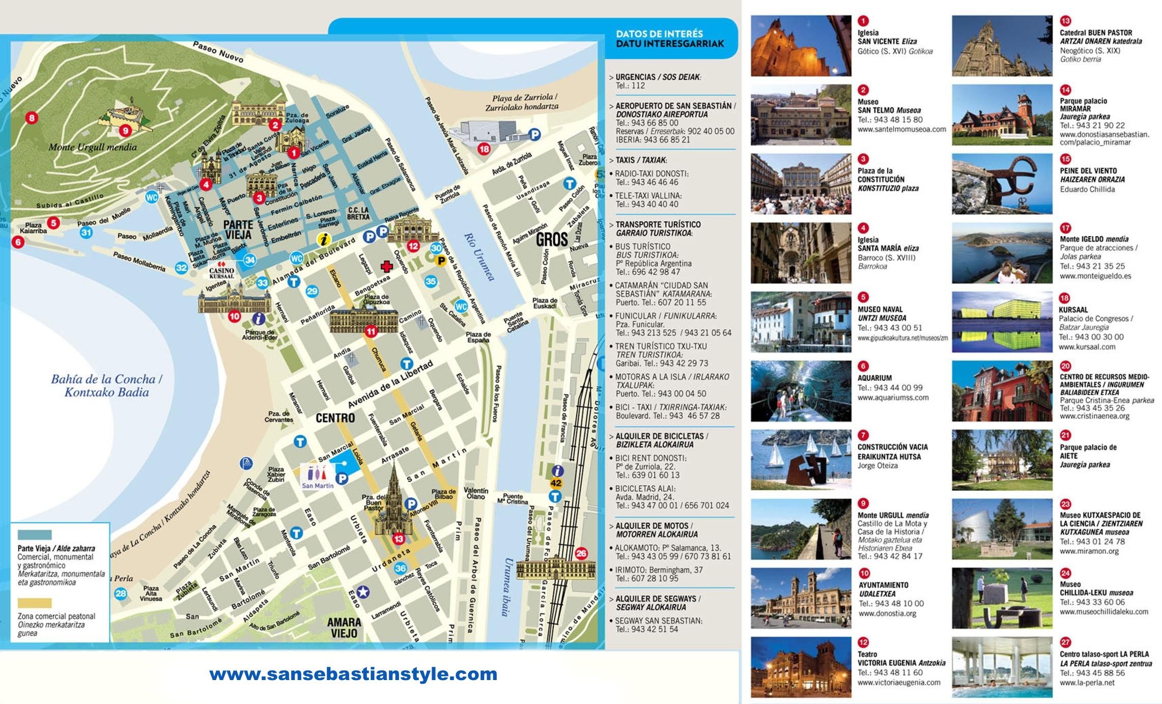 san sebastian mapa Mapa de San Sebastián   Plano turístico san sebastian mapa